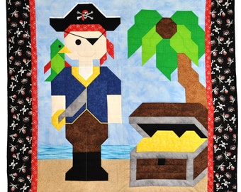 Pirate quilt PATTERN with multiple sizes
