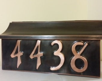 Flush Mount Patina Copper Mailbox With house  numbers