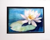 Water Lily Lily Pad Original Watercolor Painting OOAK Art