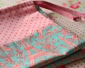 Laundry Bag. Lingerie Bag Paris Eiffeltower Aqua Red print French Chic pink polka dots europeanstreetteam