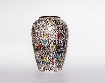 Vintage Large Jasba German Lava Colored Circles Vase  - 60s
