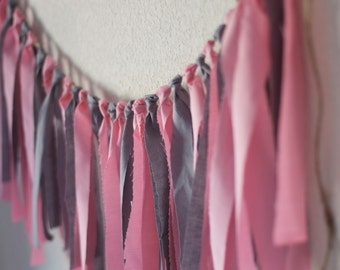 Wedding Garland, rag tie banner, Grey and Pink Rag Tie Banner Garland Gray and PInk Garland (Custom orders welcomed)