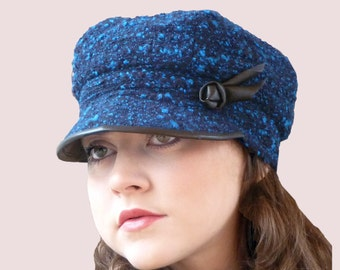 City Tour Slouchy Newsboy Cap in Blue Tweed Cashmere Blend Boucle Knit with Black Leather Trim, Wool and Angora Newsgirl Hat