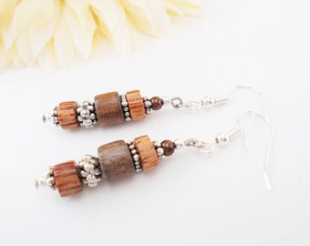 Wood Earrings, Beaded Earrings, Boho Earrings, Bohemian Brown Dangle Earrings Ecofriendly Natural Hippie Jewelry, Mom Gift Mom, Gift for Her