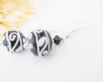 Black and White Lampwork Earrings, Glass Drop Earrings, Birthday Gift for Her, Clip On Earrings, Art Deco Jewelry, Dangle Earrings