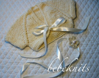 Hand Knit Newborn Baby Cardigan in Ivory and Gold Acrylic Blend