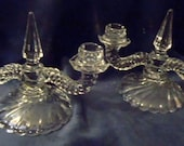 Fostoria Colony Glass Pair of Double Candle Holders, Vintage