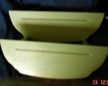 2 Cute Small Shelves With Plate Groove, Painted Soft Green With Gold Accent