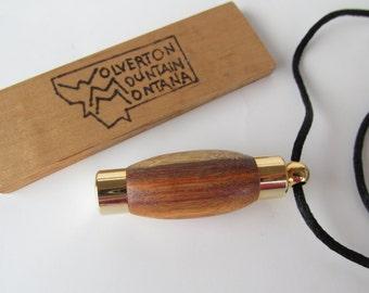 Canary Wood Perfume Holder/Storage Vial with Silk Lanyard