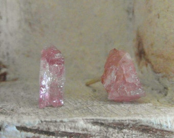 Simplistic-Natural -Raw Rough pink Tourmaline - sterling silver-one of a kind stud earrings