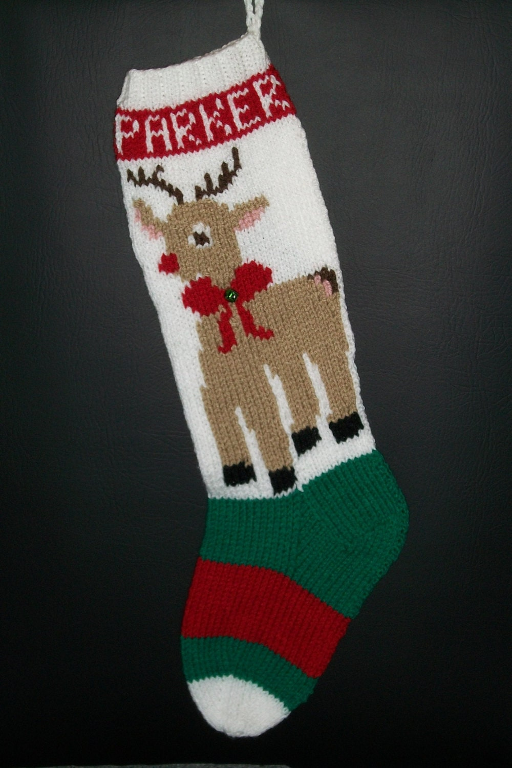 Christmas Stocking Hand Knitted Custom Order Standing Rudolph