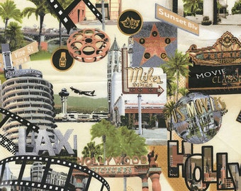 That's Hollywood Landmarks Vintage look premium cotton fabric by KANVAS by Benartex