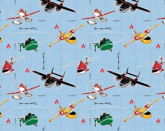 Disney Planes Fire and Rescue on Blue Cotton Fabric by Springs Creative