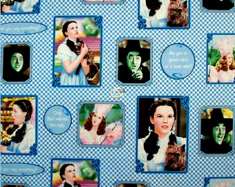 LAST YARD - Wizard of Oz Characters and Quotes on Blue Check Cotton Quilting Fabric by Quilting Treasures OOP