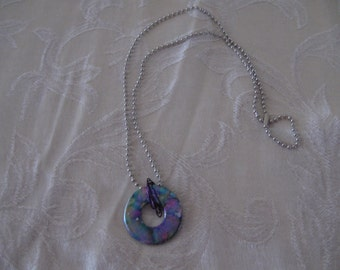 Hardware Jewelry; Necklace with Ball Chain and Iridescent Washer; Industrial Look