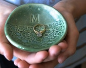 "PRE-ORDER, 4 1/2"" Personalized Ring Dish, Ceramic, Handmade Pottery, by RiverStone Pottery"