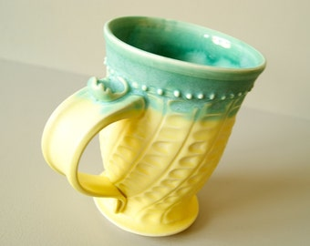 MADE TO ORDER... 16 oz. Handmade Mug in Yellow and Green, Wheel Thrown by RiverStone Pottery