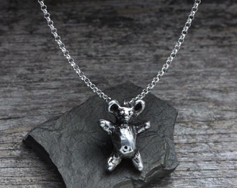Teddy Bear Pendant Necklace in sterling silver
