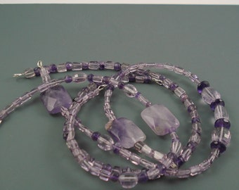 "Amethyst 36"" of Center Drilled Oval, Rectangles and Rondelles, Lilac Amethyst, Dark Purple Amethyst"