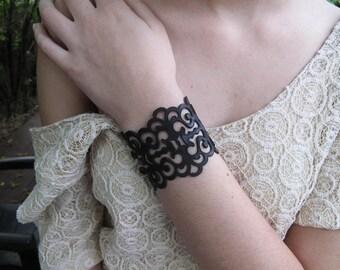 Laser cut leather bracelet ,  black leather bracelet ,  statement bracelet ,  boho bracelet , gothic jewelry