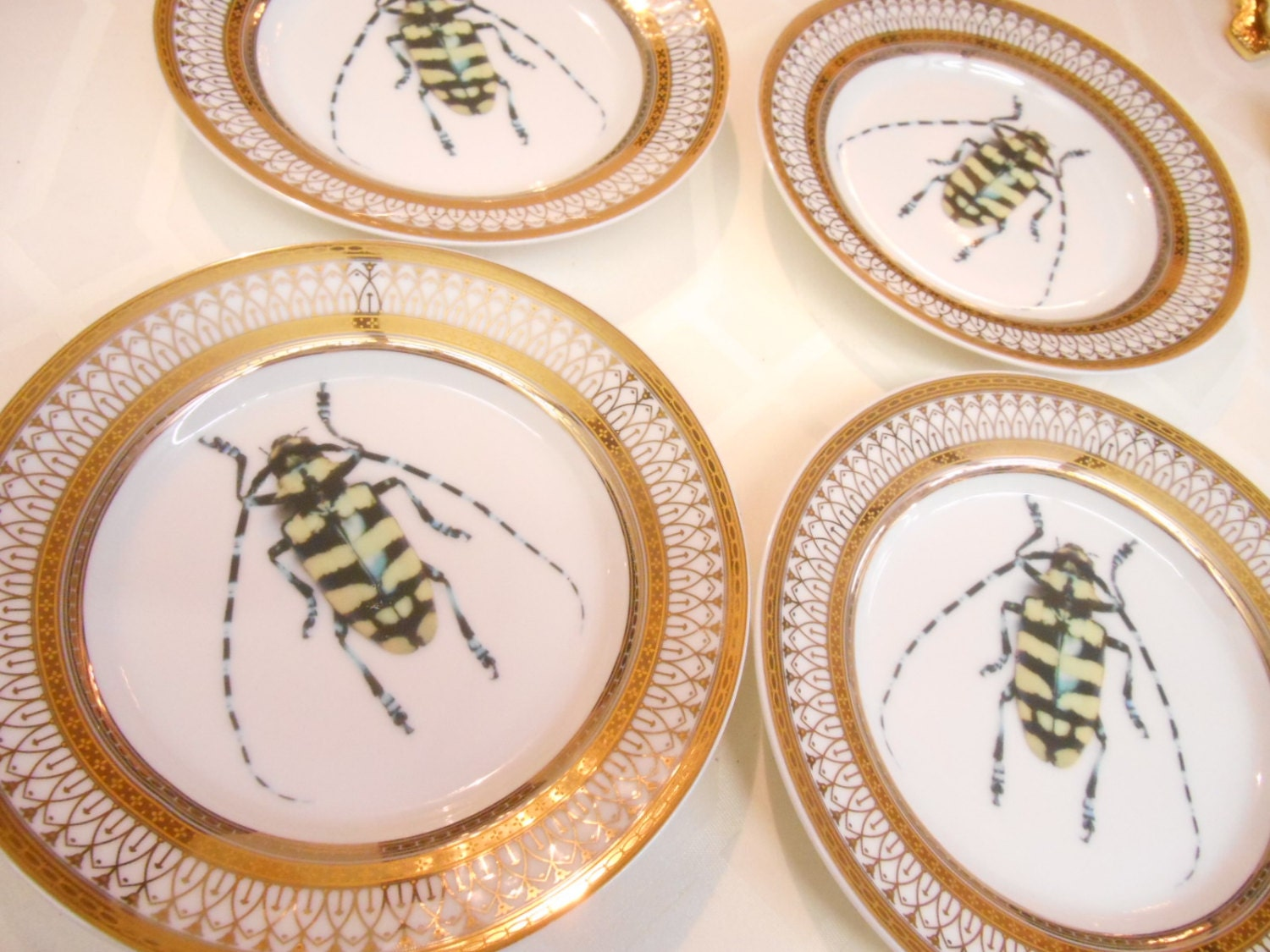 rushshipping for gita   gold ornate bug salad plates -  funky dishes custom plates custom dinnerware custom porcelaincustom tableware customized tablewaresilver dinnerware silver dishessilver plates