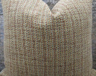 Designer Pillow Cover 12 x 16 - Tweed Red Multi