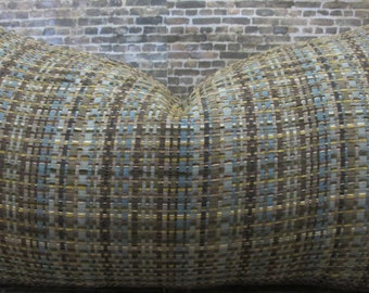 Designer Pillow Cover 12 x 18, 12 x 16 - Tweed Brown & Teal Blue
