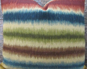 Designer Pillow Cover - Lumbar, 16 x 16, 18 x 18, 20 x20 - Stripe Ikat Gem