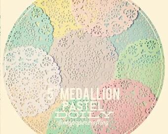 10pcs 5inch pastel color medallion paper doilies for wedding decoration/ pack