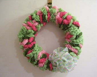 2 Pinks and 2 Greens Yarn Loop Wreath with Bow - FREE SHIPPING!