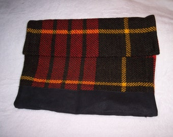 travel bag or sleeve for ipad or misc recycled from Scottish Wool blanket by Functional Art