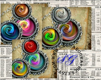 Fractal Roses Art - Digital Collage Sheets - 1.5, 1.0 inch Circles for Jewelry Supplies, Pendants, Magnets, Arts & Crafts
