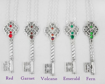 Damask Ornate Key Necklace with Swarovski Crystal - Bridesmaid Gift Lots of Colours
