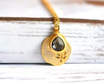 Sweet Simplicity - Gold Tree Pendant and Charcoal Teardrop Necklace. Simple Gold Tree Disc and Charcoal Pendant Necklace. GIFT FOR HER
