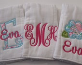 Girl Personalized  Burp Cloths Set of 3  Pink and Turquoise