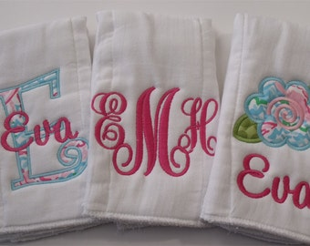 Girl Personalized  Burp Cloths Set of 3  Pink and Turquoise - Only One Left