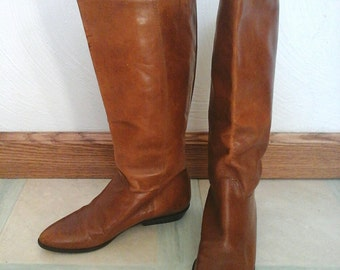 Brown Leather Boots Vintage Womens Nine West Riding Boots - Size 5