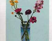 Flower acrylic painting // Ranunculus, Anemone, Ornitho, Freesia # 5 // original art acrylic still life painting on panel