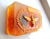 QUEEN HONEY BEE  Soap, Queen Bee Soap, with Calendula Flowers, Scented in Wild Honey, Honey Bee Soap,