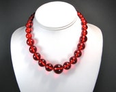 Prystal Bakelite Necklace, Red Transparent Bead, Vintage Rockabilly Choker, 30's Catalin, Tssssst Hot!