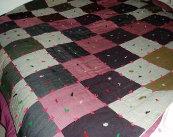 Antique Tied Quilt, Wool Suit Squares, 1930's