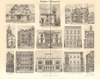 1890 House Types, 19th Century Dwelling Houses, Country Houses, Mansions Antique Engraving Print