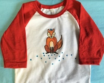 American Apparel Baby Tee Fox baby baseball tee shirt, toddler t-shirt, hand painted made in USA, Animal t shirt for children, fun baby gift