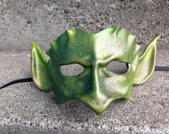 Goblin mask GREEN GOBLIN. Leather Wearable Art Mask.