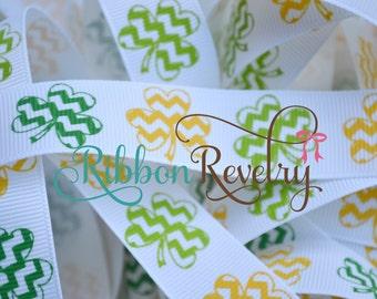 "SALE Green and yellow Chevron shamprocks on white 7/8"" grosgrain ribbon- St Patricks day Oregon Ducks"