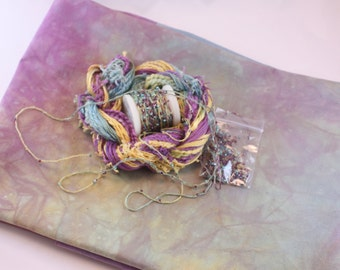 Purple Teal Gold Space Dyed Cotton Fat Quarter Fabric matching Embroidery quilting thread sewing fabric beaded yarn fiber art embellishment