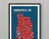 13x19 Minneapolis neighborhood map in blue & red : wall art print