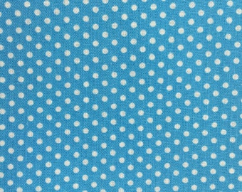 Cotton Fabric - Little White Dots on Blue Background - 3 yards