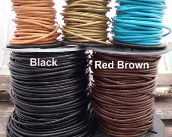 Leather Cording - Leather Chain - Jewelry Supplies - 2mm thickness - Colored Leather - Cord Necklace - Lobster Claw Closure - Extra Chain