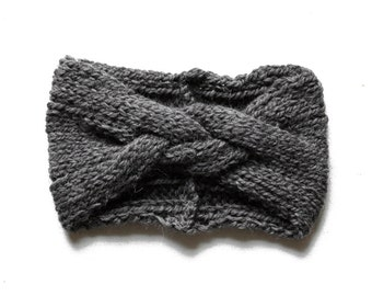 Braided Headband Hand Knit in Slate Gray from 100% Peruvian Highland sheep's wool